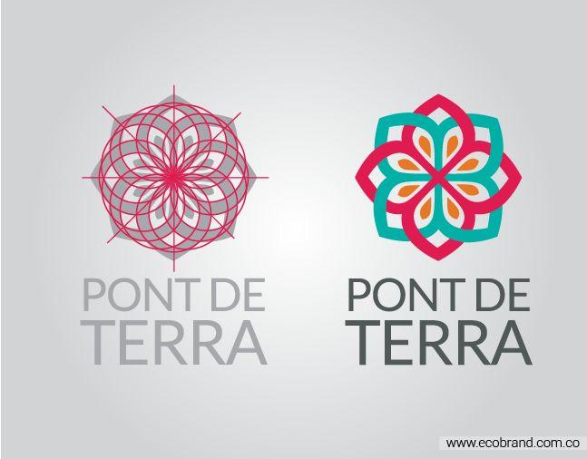 un #logo diseñado por #ecobrand que representa la identidad de las flores colombianas de la empresa Pont de Terra