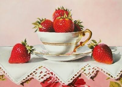 Strawberry Cup Cake - Oil, original painting by artist Jacqueline Gnott | DailyPainters.com