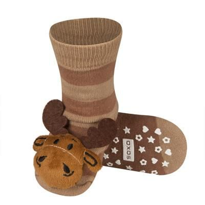 BABY RATTLE SOCKS 'SOXO' LARGE - MOOSE WITH ABS    #MamaFashionMe - Aussie Online Store with Beautiful Accessories for Girls + Some for Boys