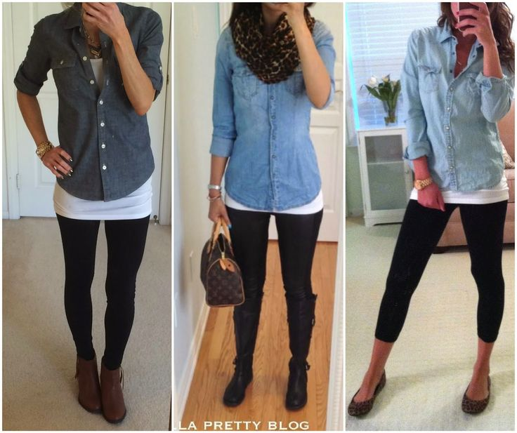 Chambray+Shirt+and+Leggings+Outfits.jpg 1,600×1,342 pixels