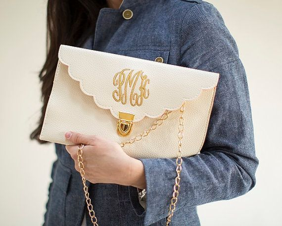 Cream Scalloped Monogram Clutch Purse ($19) - Every girl needs a chic crossbody bag with her initials on it!