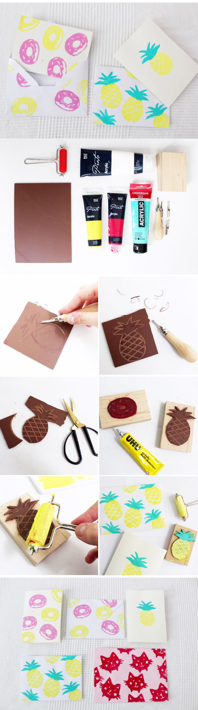 DIY tutorial: How to make pineapple and donut stamps