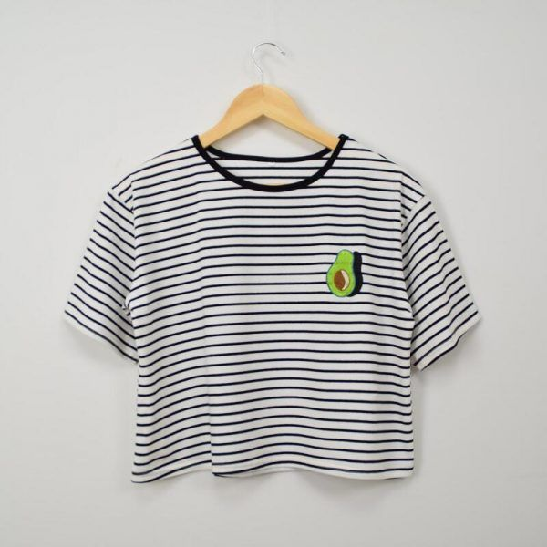 2018 Women'S Harajuku Summer Korean Original Avocado Embroidery Striped T-Shirt Female Korean Kawaii Crop Tops And Tee For Women Crop Top Outfits, Cute Casual Outfits, Pretty Outfits, Avocado Shirt, Cute Avocado, Harajuku Fashion, Harajuku Style, Tees For Women, Striped Tee