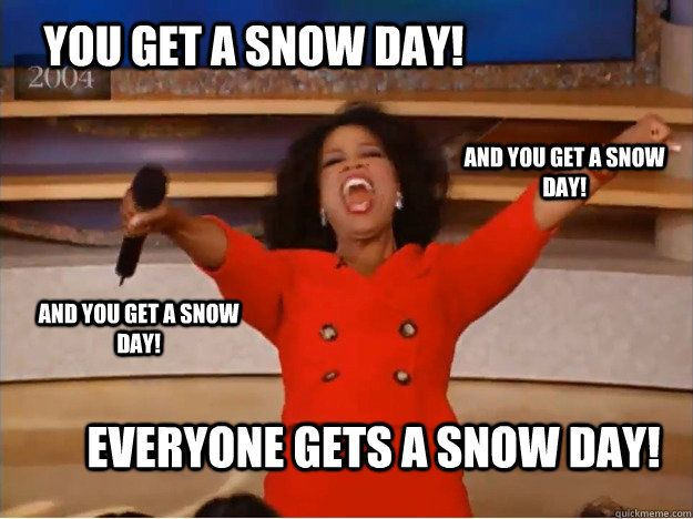 Our state declared a state of emergency. No school! No school!