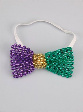 Purple, Green & Gold Beaded Bow Tie from Beads by the Dozen, New Orleans