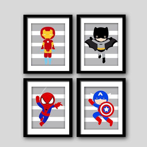 Wählen Sie 6 Superhelden wall PRINTS von AmysSimpleDesigns auf Etsy
