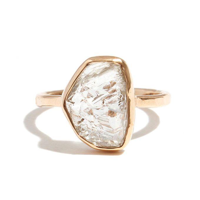 Melissa Joy Manning Clear Yellow Rough Diamond Ring Raw Diamond Engagement Ring | Brides.com