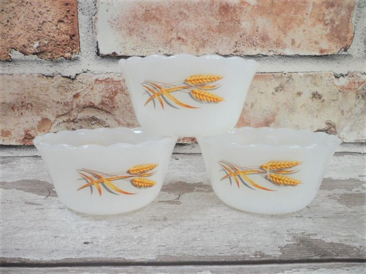 Fire King USA Milk Glass Serving Bowl Trio Vintage Mid-Century Oven to Tableware