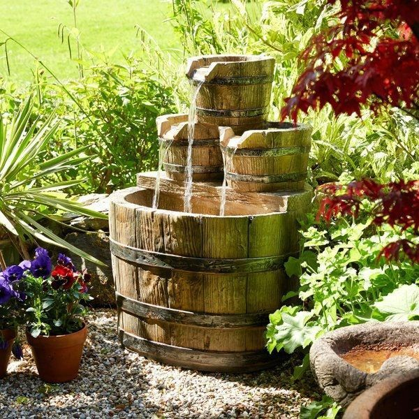 barrel water feature fountain outdoor patio polyresin waterfall led brown modern