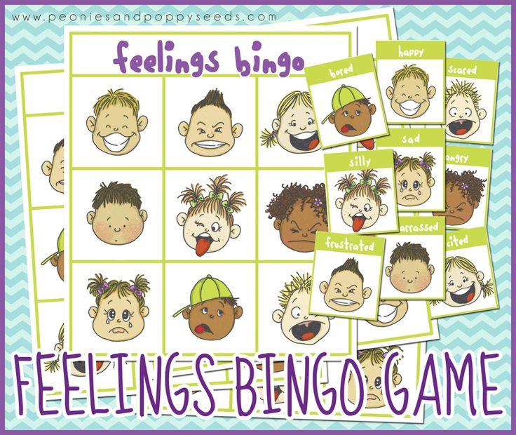 Free Printable Bingo Game about Feelings