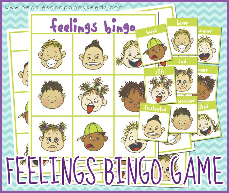 Free Printable Bingo Game about Feelings