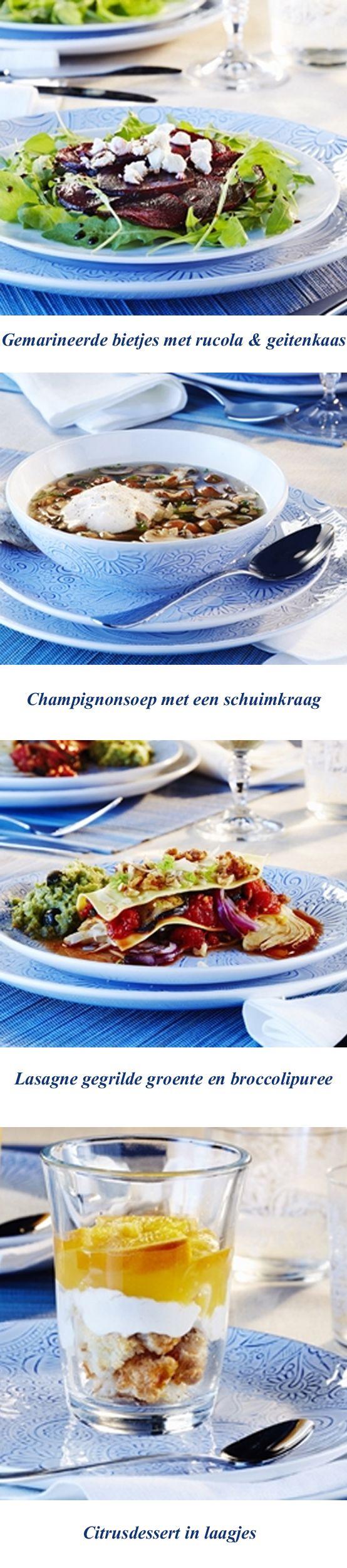 Tijdens de kerstdagen is het soms lastig om vegetariër of flexitariër te zijn. Met dit menu tover je een heerlijk vegetarisch kerstmenu op tafel. http://www.gezondheidsnet.nl/gezellige-en-gezonde-feestdagen/artikelen/12447/een-vegetarisch-kerstmenu #kerst #recepten #menu