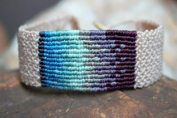 Macrame bracelet wrist strap blues and purples