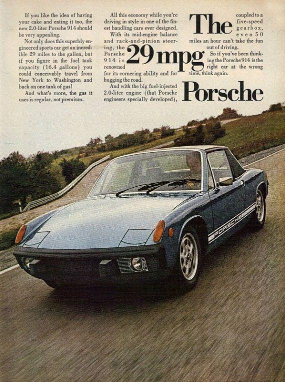 1974-PORSCHE 914 blauwe auto Ad 29 MPG Vintage door StillsofTime