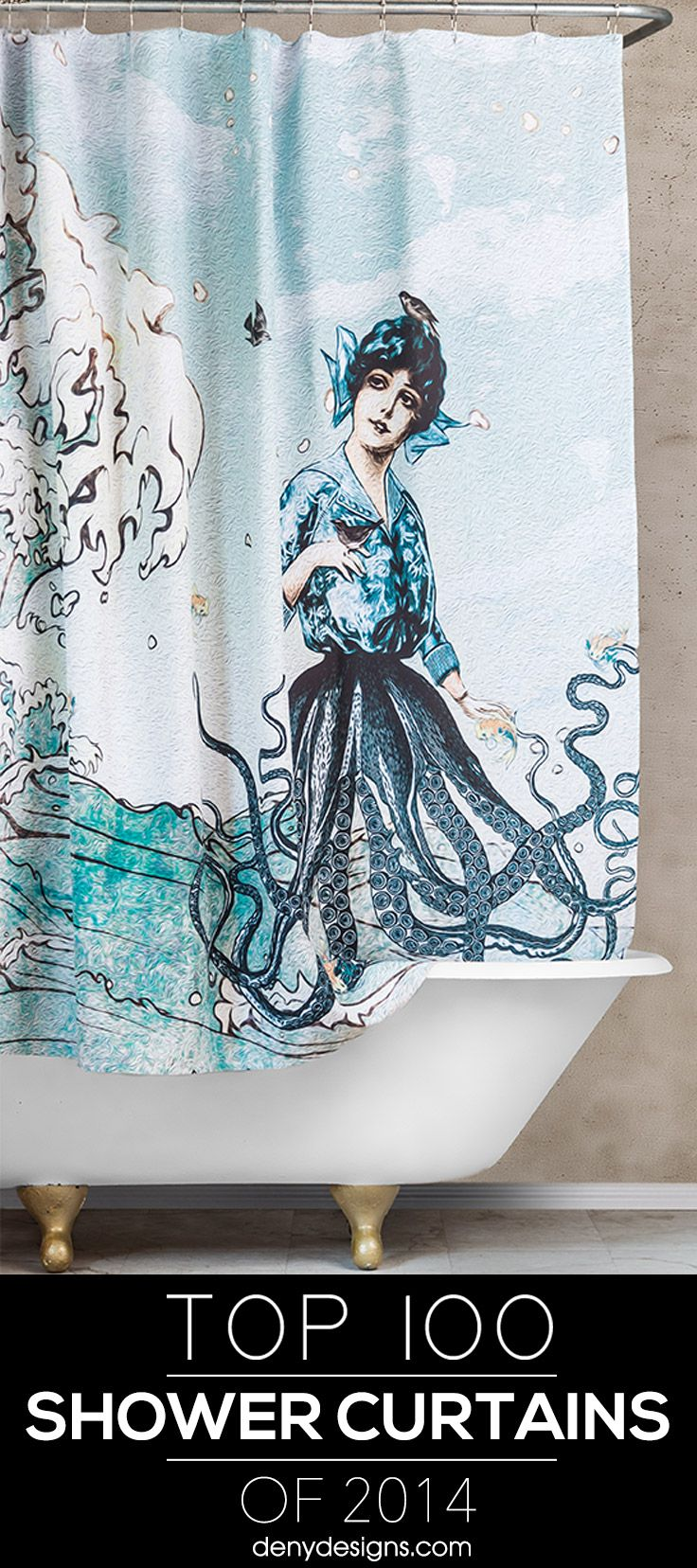 Easily transform the bathroom with one of the Top 100 Shower Curtains of 2014!