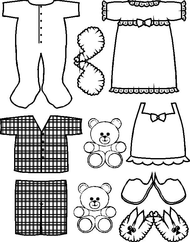 Paper doll pajama friends clothes paper dolls for Pajama coloring page