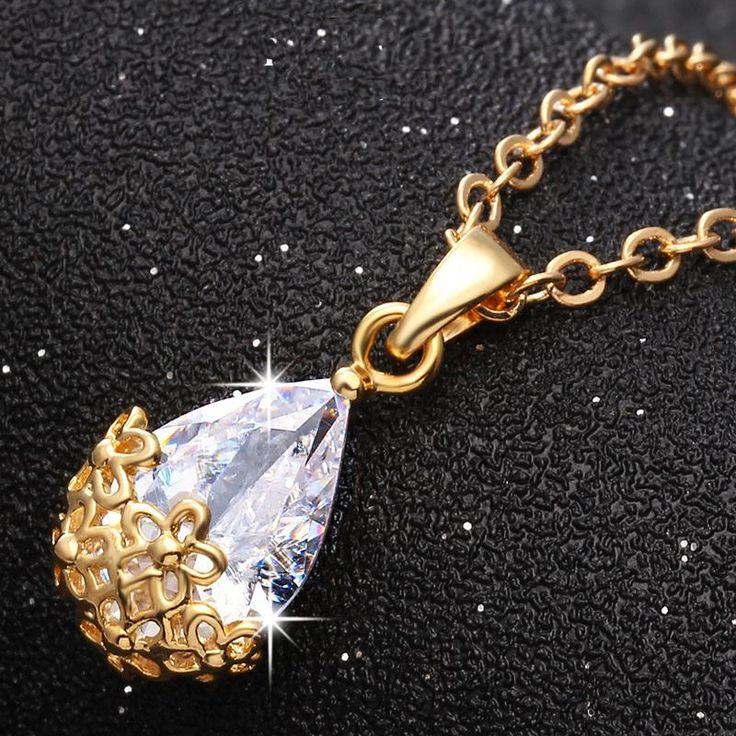 17 KM de La Manera flores de Cristal Collar de Cadena Larga Colgante Encanto Collar de diamantes de Imitación Mujeres de La Muchacha Bolsa de regalo Joyería Declaración de Amor