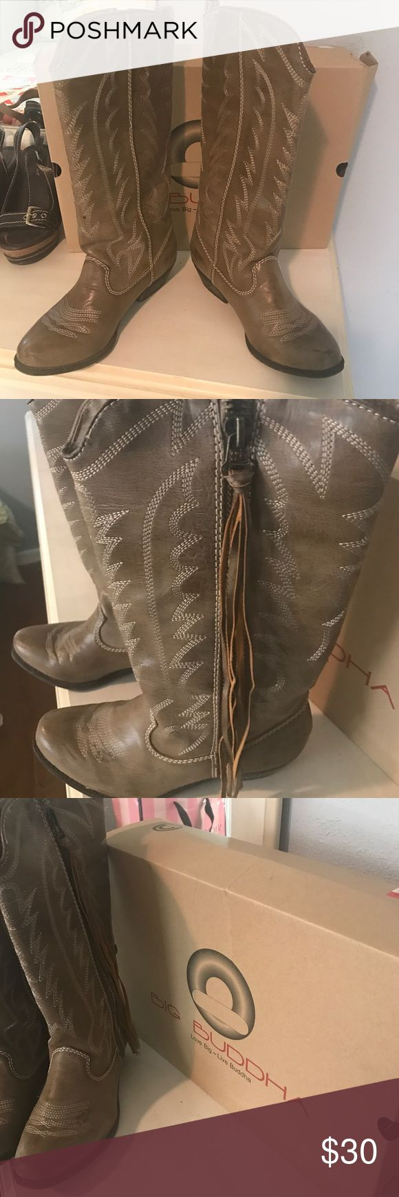 Big Buddha - size 9.5 - zip up - cowgirl boots Lightly worn Bug Buddha round toe cowgirl  boots - small heel. Big Buddha Shoes Heeled Boots