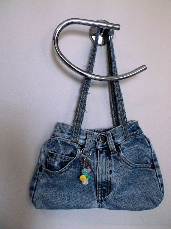 Denim purse reused recycled up cycled denim little by Jillsfineart, $14.00