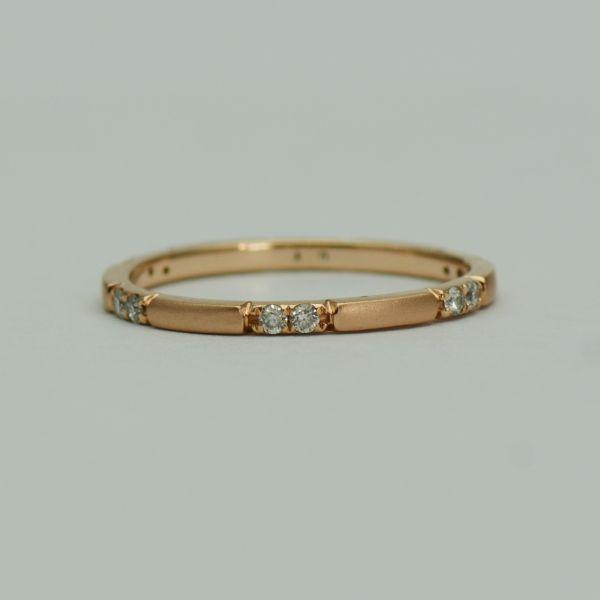 Inel din aur roz 14k cu diamante
