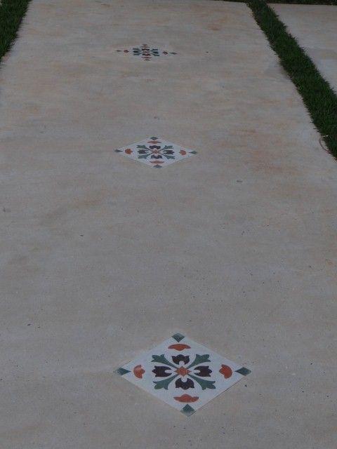Piso de cemento con detalles