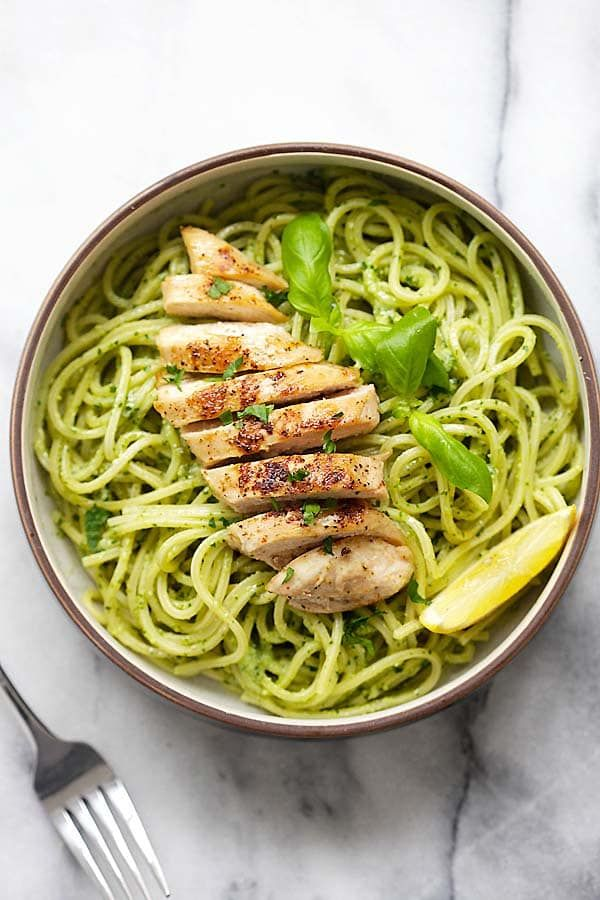 Pesto Pasta with Chicken - easy pasta with basil pesto and grilled chicken. Loaded with yogurt and Parmesan cheese, this recipe is so delicious   rasamalaysia.com