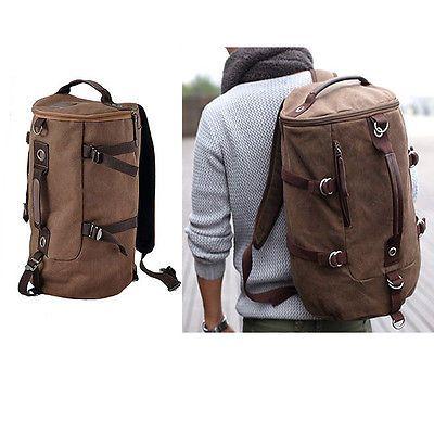 Mens Stylish Canvas Backpack Rucksack School Bag Messenger Hiking Shoulder