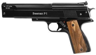 Beeman P1 Air Pistol air pistol by Beeman. Save 16 Off!. $459.95. Looks like a .45 Colt...and just as accurate! Made in Germany by the legendary Weihrauch company, the Beeman P1 is considered by many to be the Holy Grail of air pistols. This is an heirloom airgun that you'll pass along to your grandchildren and beyond.  The gun's heft and balance convey quality and substance. It fills your hand without feeling bulky or oversized. The unusual overlever cocking mechanism compresses t...