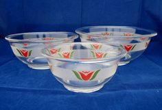Extremely Rare 1948 Vintage Pyrex Etched RED TULIP 3 pc Mixing Bowl Nesting Set #Pyrex