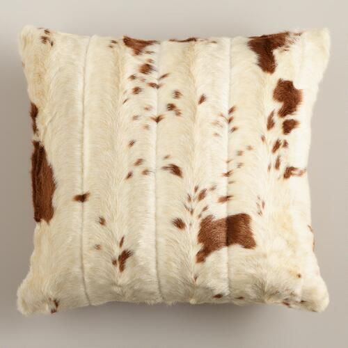 Our Faux Cowhide Throw Pillow is a modern take on the classic Western cowhide pillow makes for a fun, creative accent for your space. Soft and cozy, bold and contemporary; it's a pillow you'll enjoy until the cows come home.