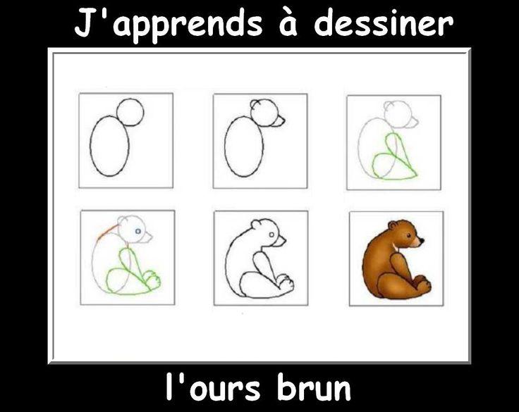 J 39 apprendre a dessiner ours brun apprendre dessiner pinterest animaux - Comment dessiner un ours ...