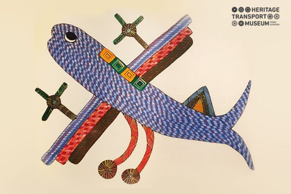 A beautiful Gond tribal art form depicting the imagination of tribal artists for modern day transport! #gond #tribal #art #aeroplane