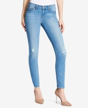 Jessica Simpson Juniors' Kiss Me Destructed Skinny Jeans - Blue 27