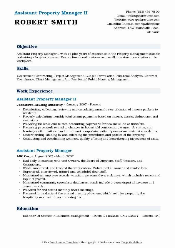 25 Assistant Property Manager Resume Job Resume Examples
