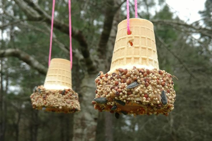 One of my greatest pleasures at home is watching the birds in the backyard. Inspired byKim Kusiciel's bagel bird feeder idea (see her tiphere), I came up with ice cream cone bird feeders. Be sure to have some ice cream in the freezer so after your kids make a treat for the birds they can have one...