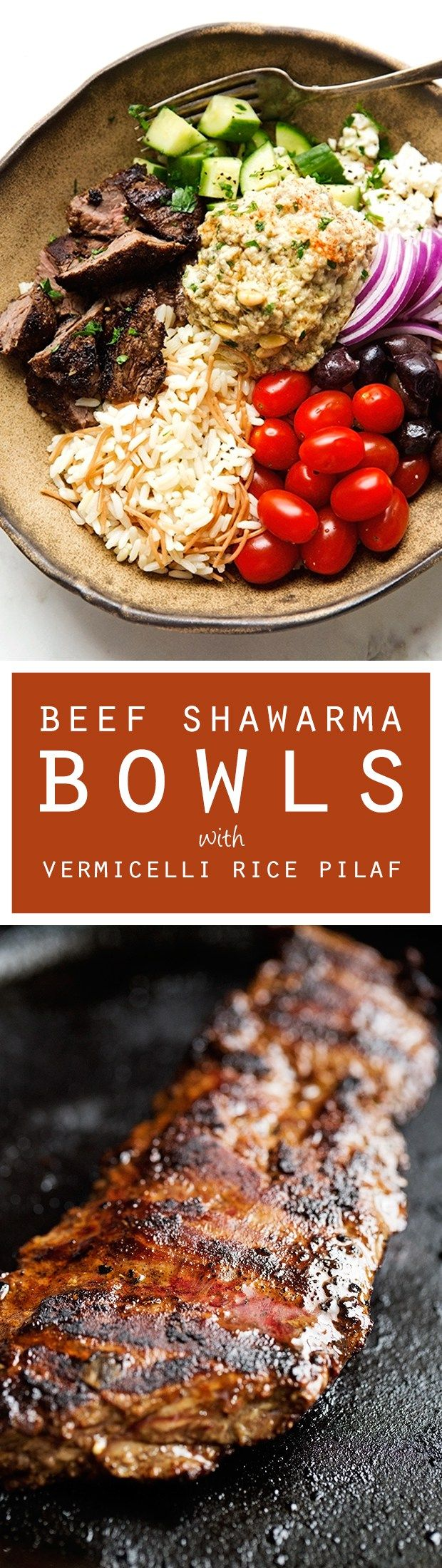 Beef Shawarma with Vermicelli Rice Pilaf - A simple shawarma plate just like your favorite restaurants, topped with tons of veggies! Perfect for lunches too! #shawarma #shawarmabowl #vermicellirice   Littlespicejar.com