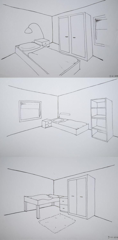 Leerjaar 1 - Schetsen - De opdracht was om te oefenen met het tweepuntsperspectief. Dit door kamertjes te tekenen, als laatste de slaapkamer.