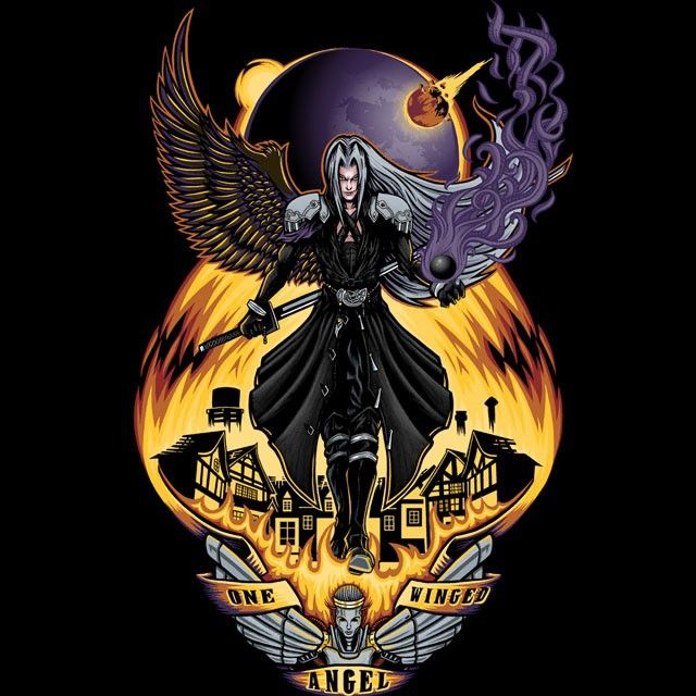 """""""One Winged Angel"""" by TrulyEpic is $10 today at ShirtPunch.com (08/10). #tshirt #FinalFantasy #Shinra #Sephiroth #VideoGames #Gaming"""