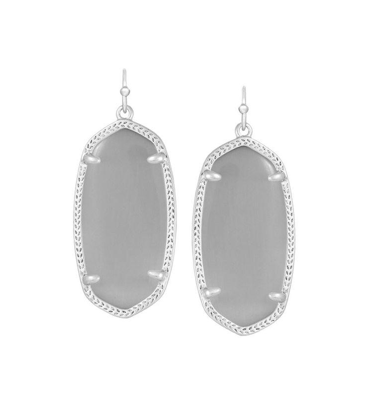 Kendra Scott Elle Slate Catseye Earrings Silver