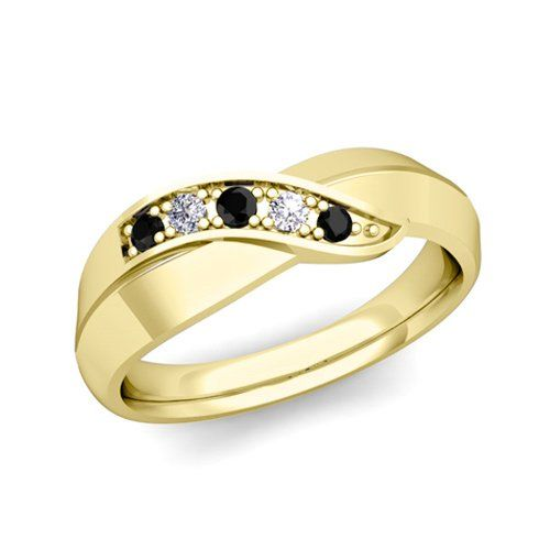 Black and White Diamond Wedding Ring Band in 14k Yellow Gold Infinity Wedding Anniversary Ring, Ring Size 3 to 9 Made in USA (New York). Free Ring Sizing. Free Ring Engraving & Free Gift Packaging. 45-Day Money Back Guarantee. Lifetime Warranty & Lifetime Rewards.  #My_Love_Wedding_Ring #Jewelry