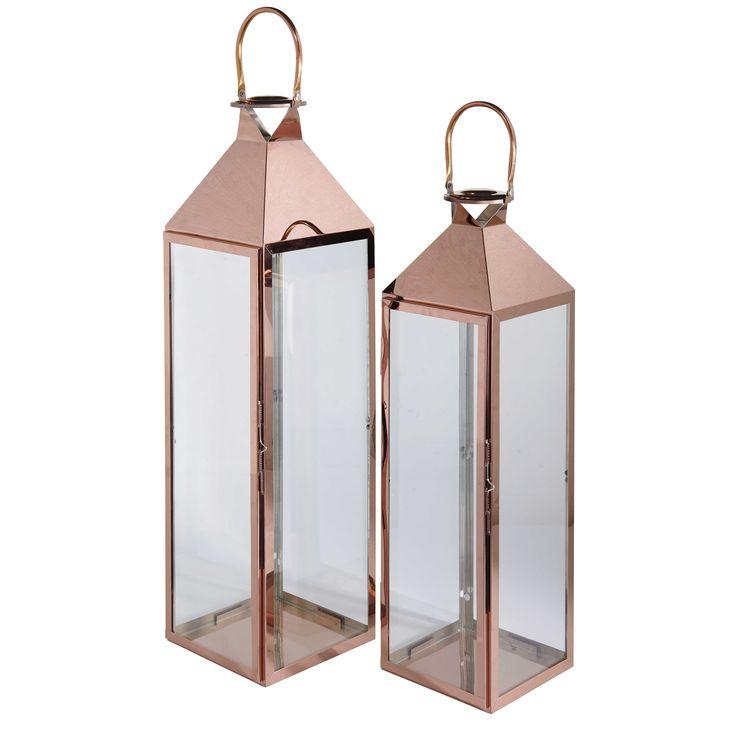 2 lanternes en verre et métal cuivré HERITAGE