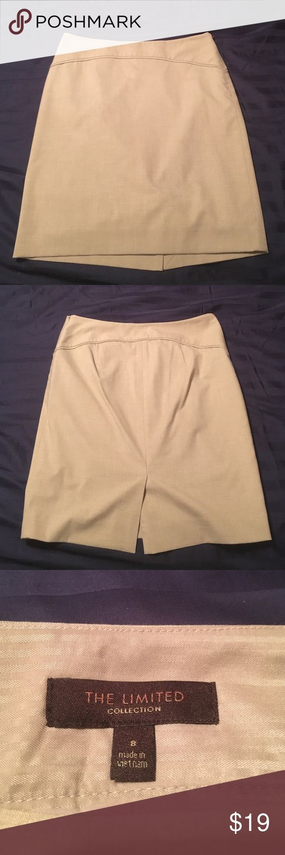 The Limited khaki skirt The Limited khaki pencil skirt. Size 8. Only worn 2-3 times. Great condition. Side zipper. The Limited Skirts Pencil
