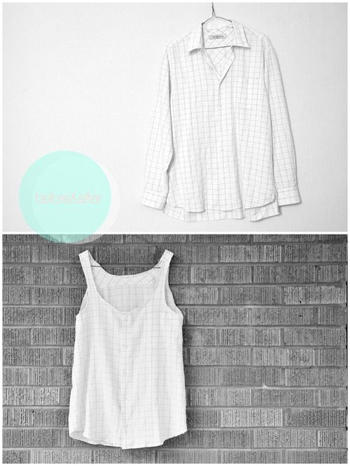 DIY Mens Dress Shirt to Loose Fitting Tank Tutorial.  looks easy!: Flowy Tanks, Tank Tops, Buttons Up, Men Shirts, Dresses Shirts, Old Shirts, Tanks Tops, Summery Flowy, Men Buttons
