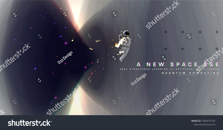 Astronaut. Cosmos futuristic abstract background, quantum space exploration and technology vector poster. Minimalistic shapes, stars and lights for sc…