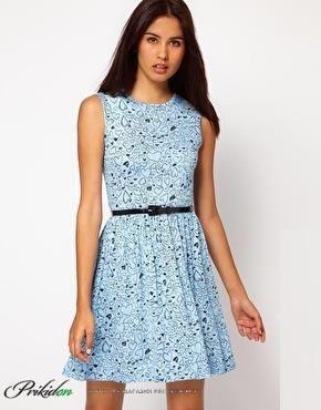 Купить летнее платье голубое