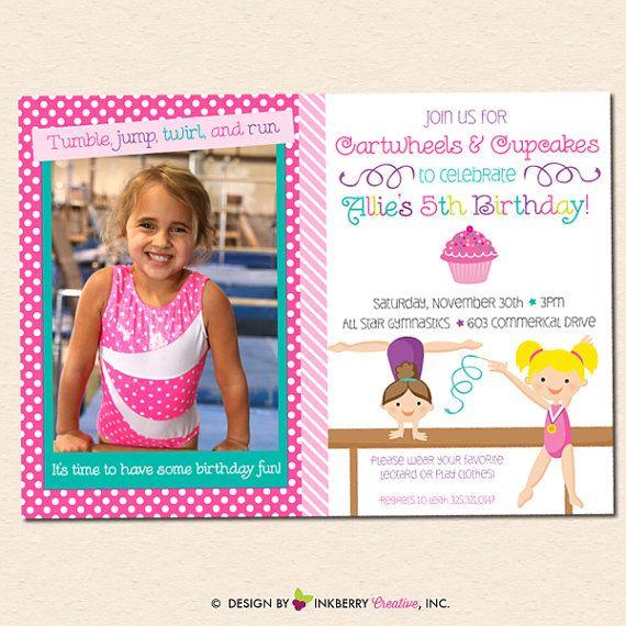 Girl's Gymnastics Birthday Party Photo Invitation by inkberrycards