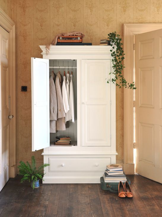 White Painted Wardrobe, painted bedroom furniture, ivy, suitcase, books, country bedroom, modern country bedroom