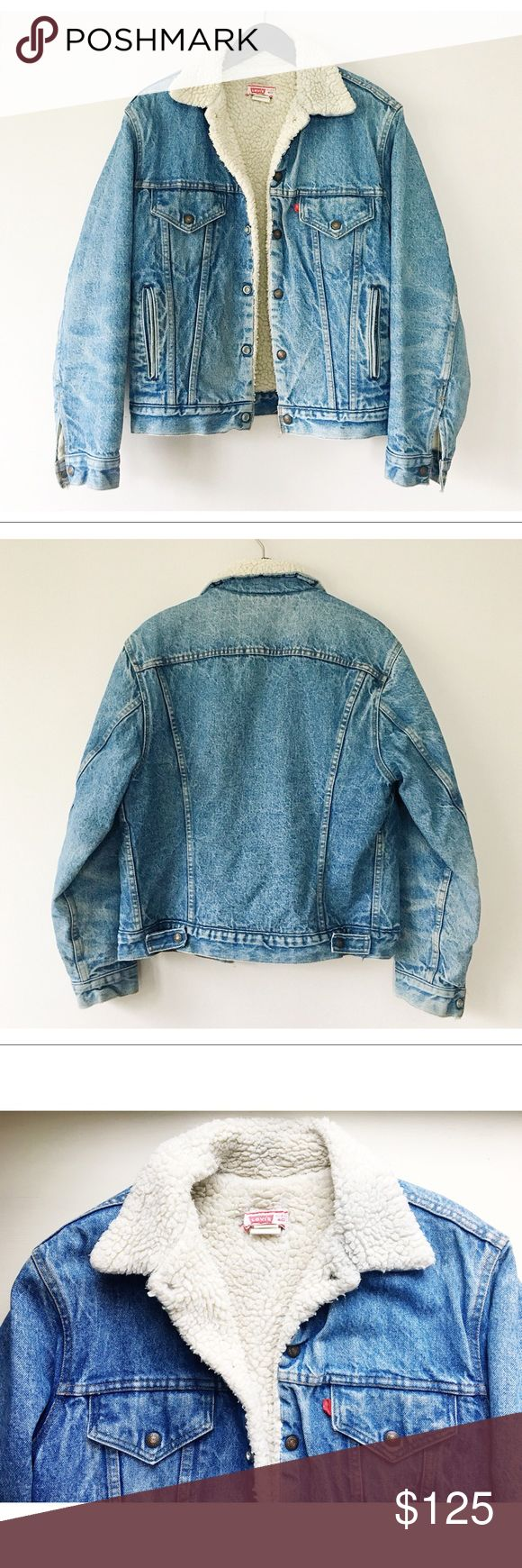 Vintage Levi's Sherpa Denim Trucker Jacket M 60s 70s Levi's Denim Sherpa Trucker Jacket. Perfectly worn in. Small hole behind Levi's tag but otherwise in excellent condition. Fits ladies oversized S-M or L. Will also work as a slim fit men's M tall. Levi's Jackets & Coats