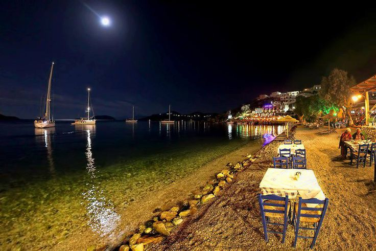 Dining by the sea in Leros, Dodecanese Islands, Greece