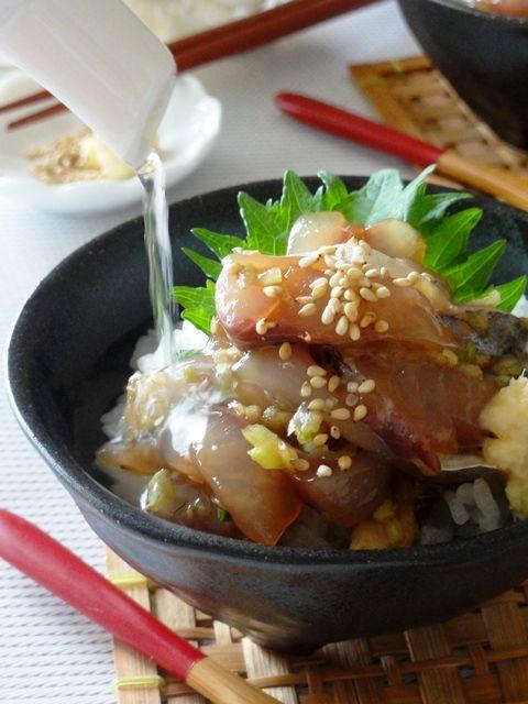 お刺身アジの冷やし茶漬け。。sashimi rice with cold green tea~Happy Smile recipes!~